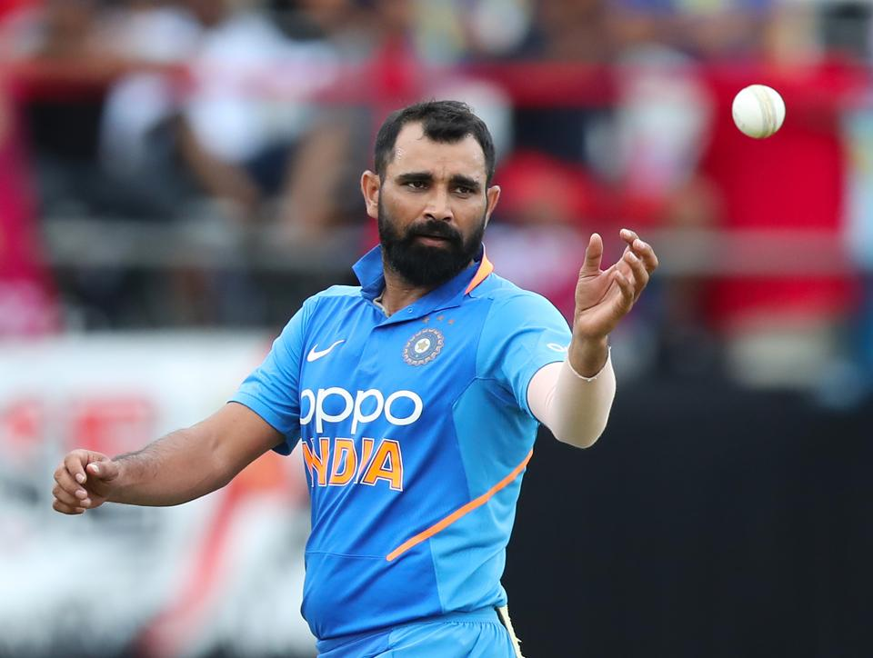 File phot of  Mohammed Shami of India.