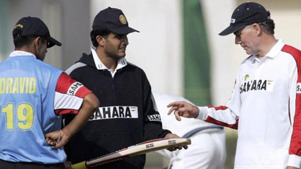 File image of Sourav Ganguly in discussion with former India coach Greg Chappell and Rahul Dravid.