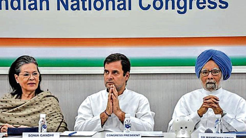 Congress leaders Sonia Gandhi, Rahul Gandhi and Manmohan Singh at a CWC meeting in New Delhi on May 25.