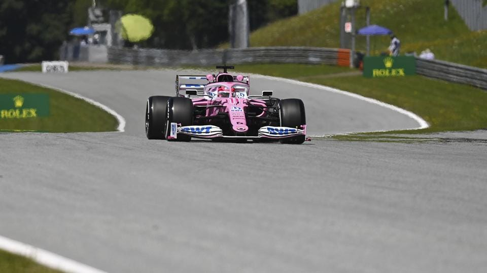 Racing Point driver Sergio Perez of Mexico steers his car during the first practice session for the Styrian Formula One Grand Prix at the Red Bull Ring racetrack in Spielberg, Austria, Friday, July 10, 2020. The Styrian F1 Grand Prix will be held on Sunday.