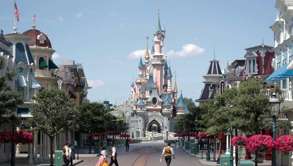 A deserted street is seen at Disneyland Paris, in Marne-la-Vallee, near Paris, as the theme park prepares to reopen its doors to the public following the coronavirus disease (COVID-19) outbreak in France, July 9, 2020. (REUTERS)
