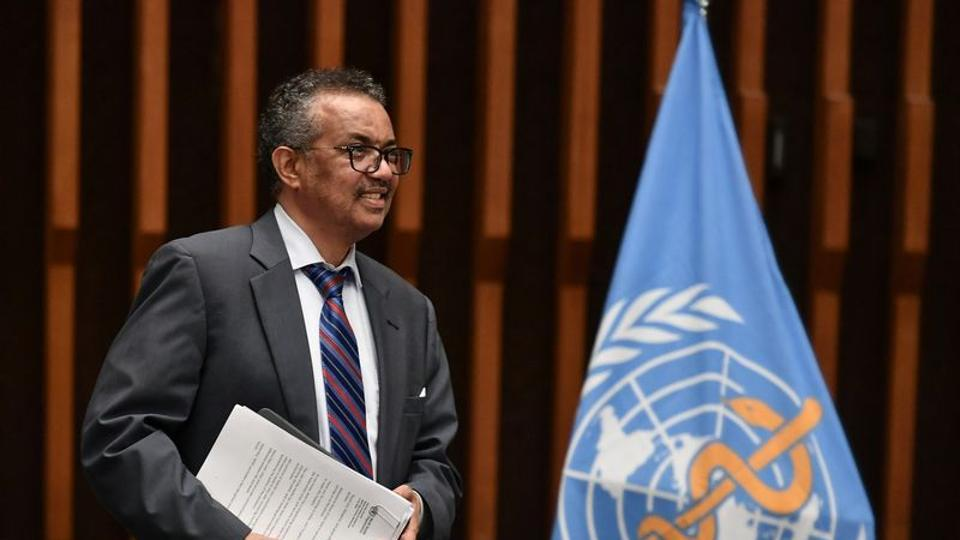 World Health Organization (WHO) Director-General Tedros Adhanom Ghebreyesus arrives at a news conference at the WHO headquarters in Geneva Switzerland July 3, 2020.