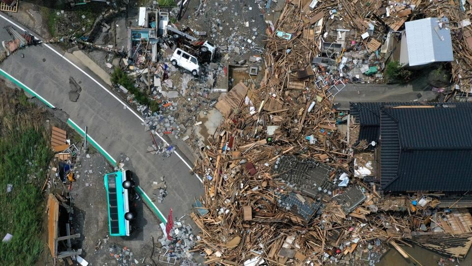 An aerial view shows the aftermath of floods caused by the torrential rain, in Kumamura on July 8. Rains that began early on July 4 have already brought widespread damage across the Southwest Japan. (Kim Kyung-Hoon / REUTERS)