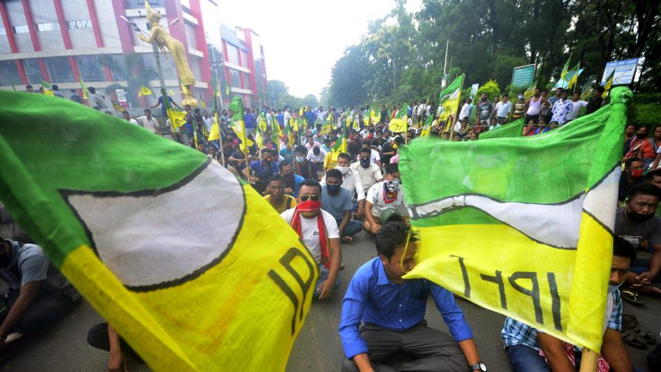 Supporters of Indigenous Peoples' Front of Tripura (IPFT) stage a protest against the arrest of a party worker, in Khumulwng area, the headquarters of the Tripura Tribal Areas Autonomous District Council (TTAADC), on Thursday.