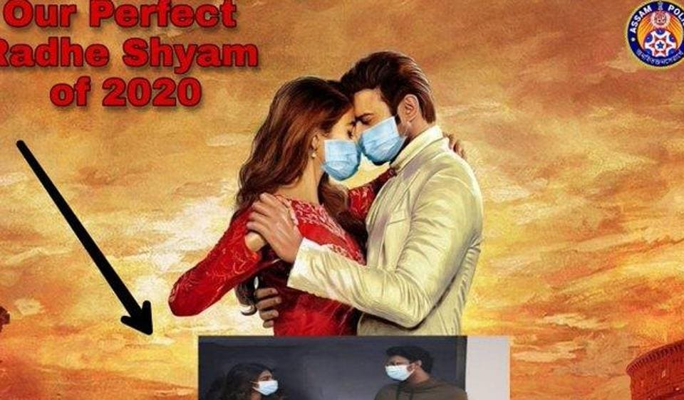 An edited poster of Radhe Shyam shows the lead actors wearing face masks.