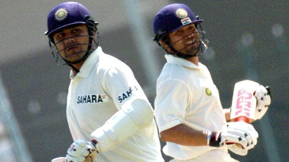 Virender Sehwag and Sachin Tendulkar batting together for India.