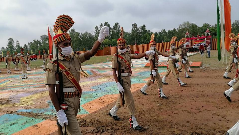 Railway Protection Special Force personnel during the passing-out parade in Yamunanagar on Saturday.