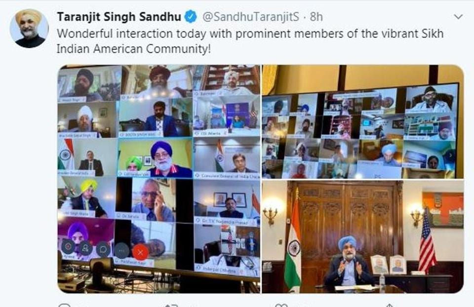 Indian ambassador to the US Taranjit Singh Sandhu's tweet soon after the virtual interaction on Friday, which was attended by about 100 eminent Sikh leaders.