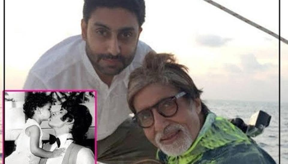 Amitabh Bachchan with son Abhishek and daughter Shweta.