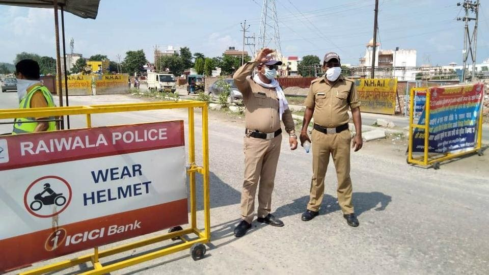 Barricades put up by Uttarakhand police to check illegal entry of Kanwariyas in state.
