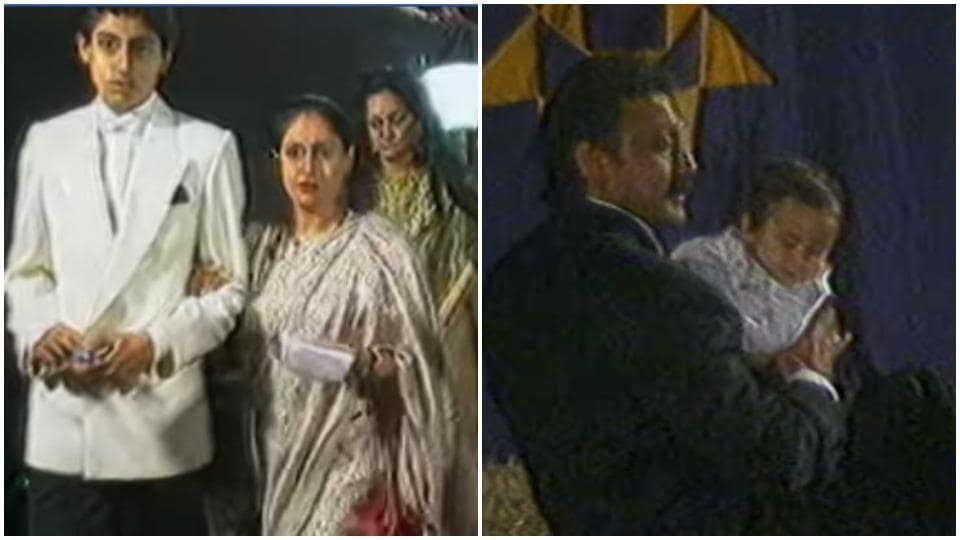 Tiger Shroff with Jackie Shroff and Abhishek Bachchan with mother Jaya Bachchan.