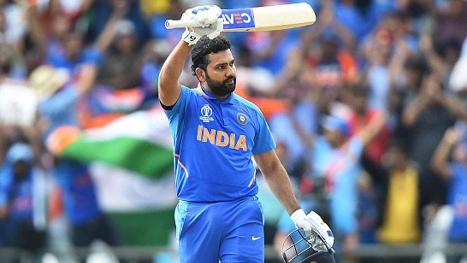 Rohit Sharma celebrates his fifth World Cup 2019 century.