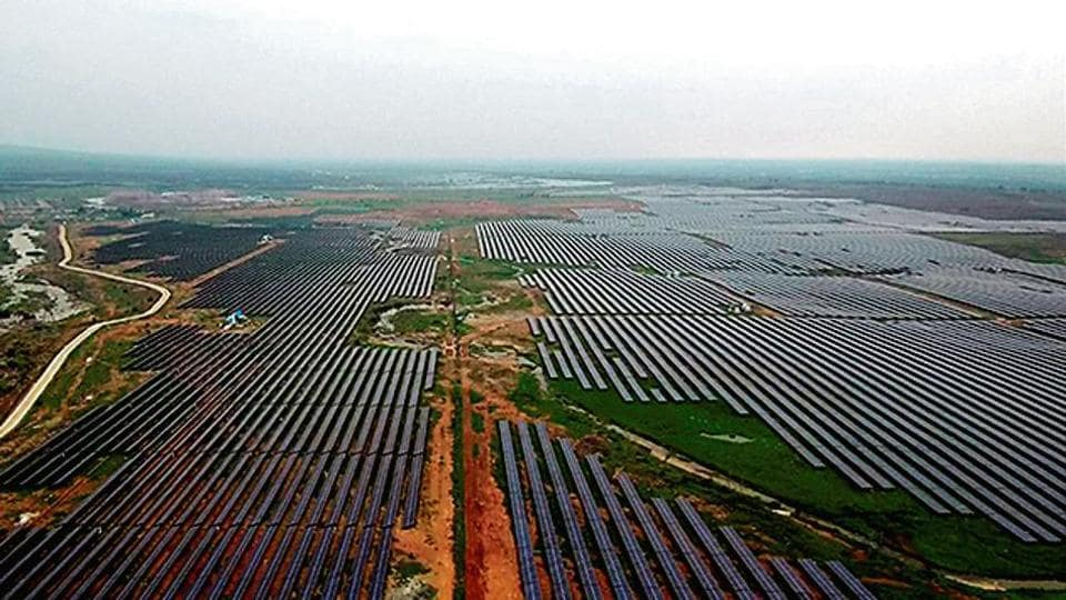 An aerial view of a 750 MW solar power plant project inaugurated by Prime Minister Narendra Modi in Rewa on Friday.