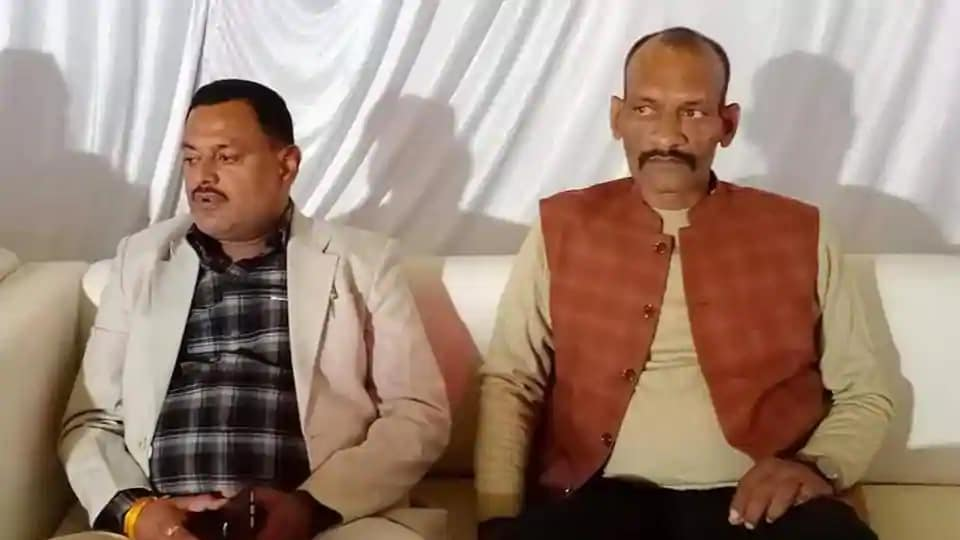 Arvind Ramvilas Trivedi with Vikas Dubey earlier in Uttar Pradesh