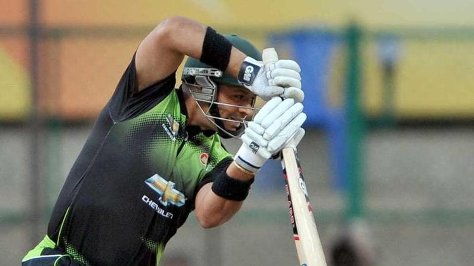 Ashwell Prince plays a shot during the Champions League Twenty20 League cricket match between Warriors and Somerset at the M Chinnaswamy Stadium in Bangalore.