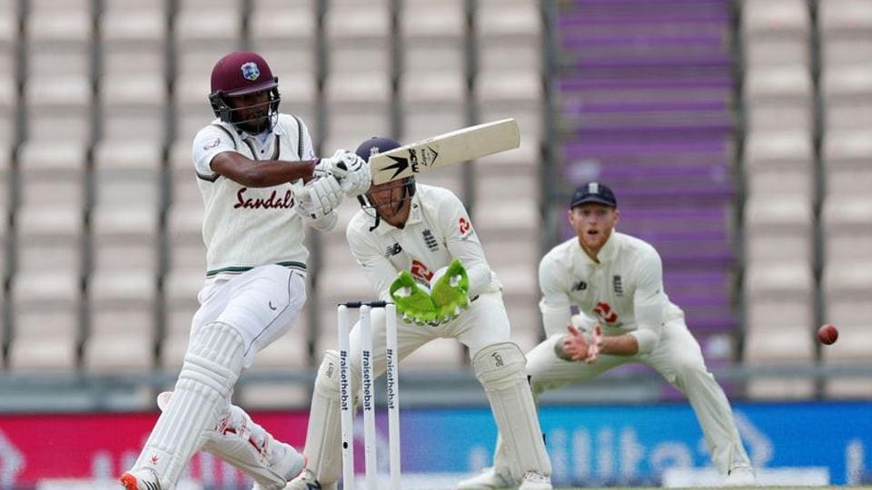 Cricket - First Test - England v West Indies - Rose Bowl Cricket Stadium, Southampton, Britain - July 10, 2020 West Indies' Kraigg Brathwaite in action, as play resumes behind closed doors following the outbreak of the coronavirus disease (COVID-19)