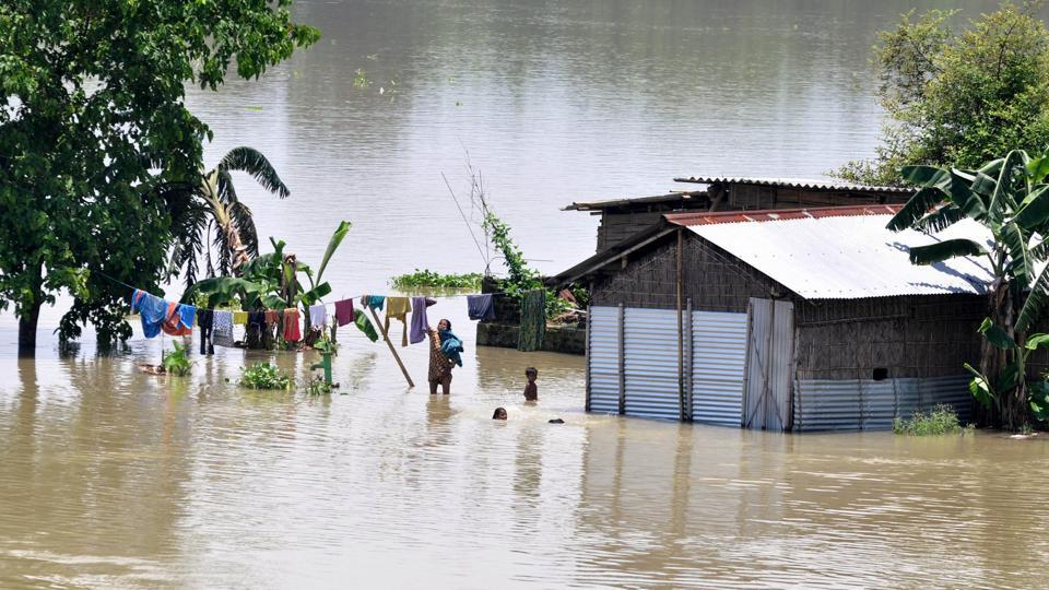 The rising water level inundated houses in the area and residents were forced to move to a safer place.