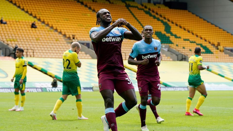 Soccer Football - Premier League - Norwich City v West Ham United - Carrow Road, Norwich, Britain - July 11, 2020 West Ham United's Michail Antonio celebrates scoring their second goal