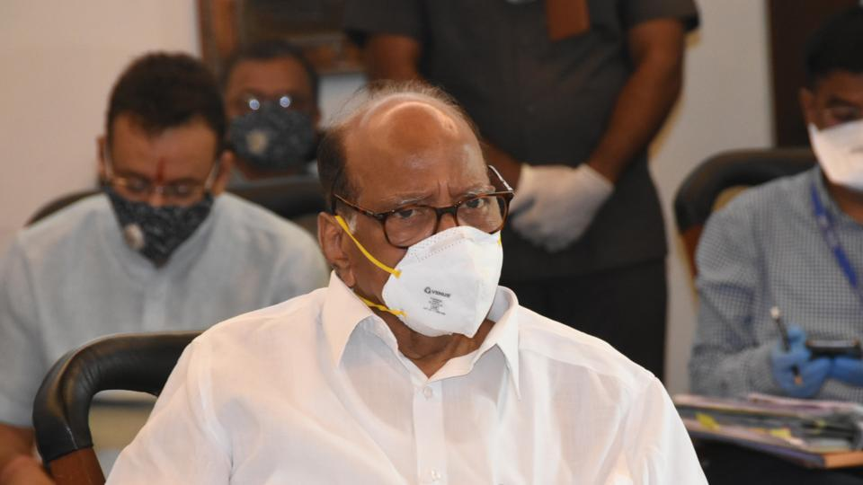 NCP chief Sharad Pawar attending a review meeting on coronavirus, in Pune.
