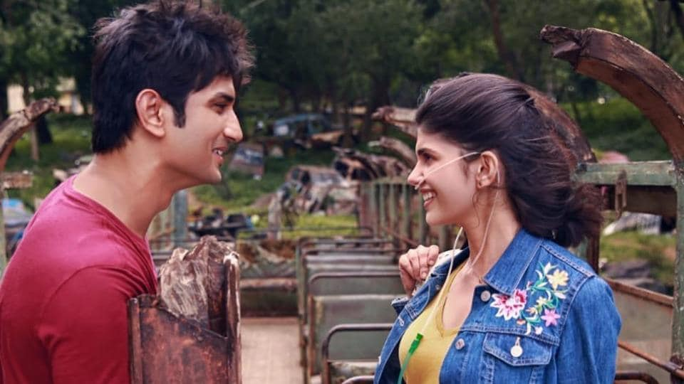 Sushant Singh Rajput and Sanjana Sanghi in a still from Dil Bechara song, Taare Gin.