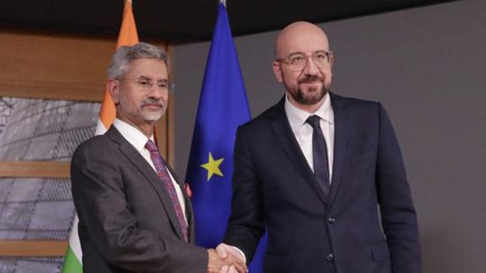 External affairs minister S Jaishankar welcomed by European Council President Charles Michel prior to a meeting at the Europa building in Brussels in February 2020.