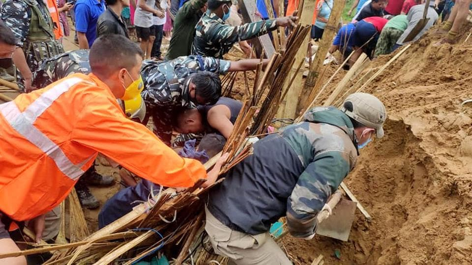 Search and rescue operation underway after four people were buried following a landslide due to incessant rainfall, at Modirijo in Arunachal Pradesh on Friday.