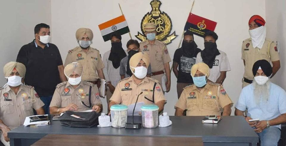 Additional deputy commissioner of police (ADCP-2) Jaskiranjit Singh Teja addressing a press conference about the arrests in Ludhiana on Saturday.