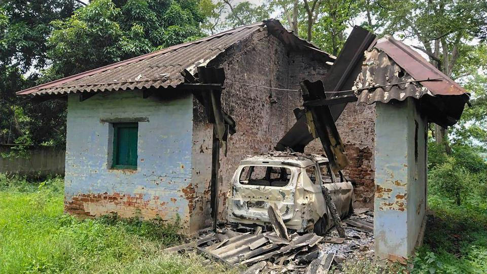 A part of the forest guest house which was blown up by CPI-Maoist extremists at Barkela area in Chaibasa districtof Jharkhand, Sunday, July 12, 2020.