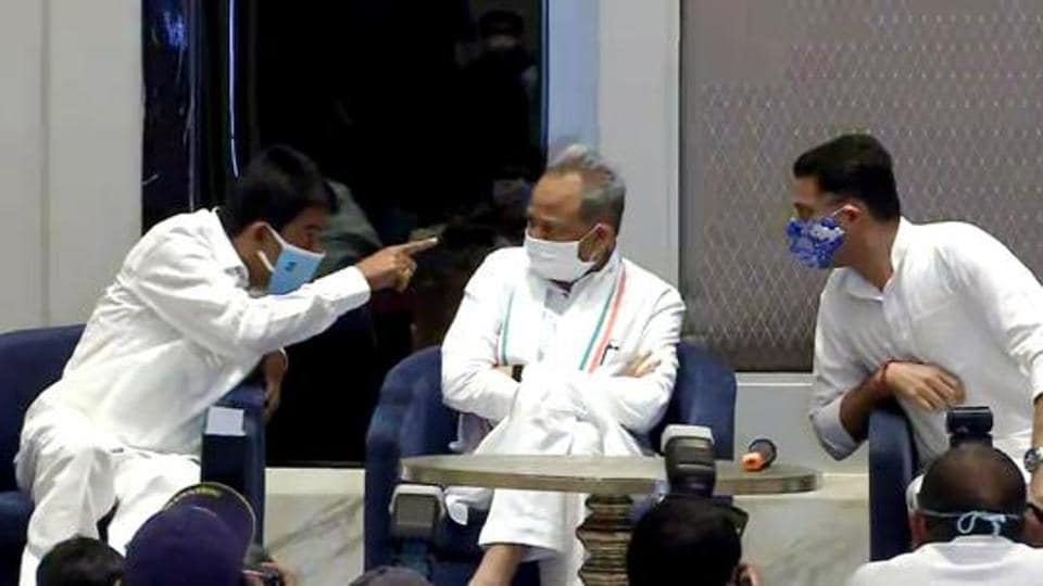 Rajasthan chief minister Ashok Gehlot and Deputy CM Sachin Pilot during a joint press conference, in Jaipur last month.
