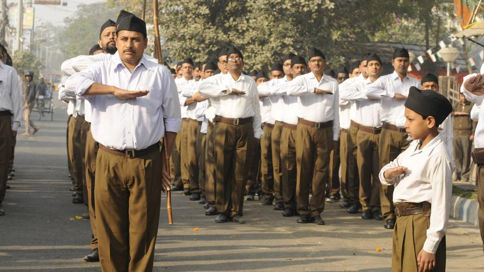 Volunteers of Rashtriya Swayamsevak Sangh (RSS) organised a rally at Garia area in South Kolkata.