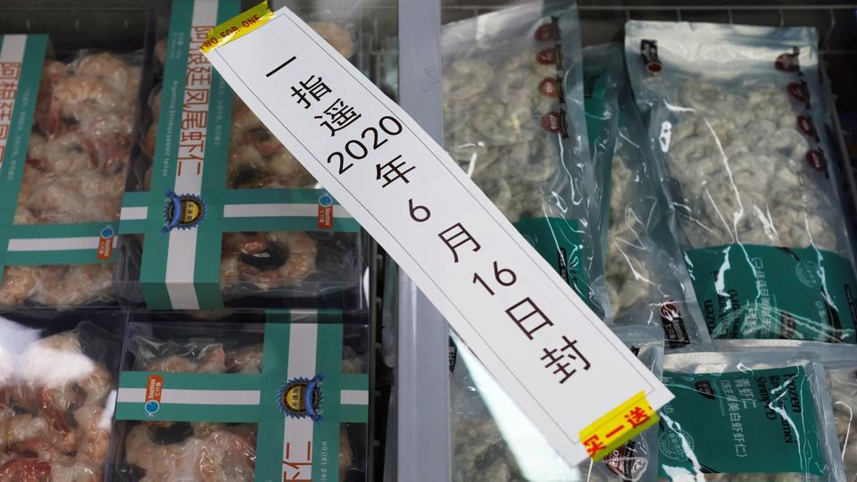 Frozen seafood products made of imported shrimps are seen inside a sealed freezer at a supermarket following a new outbreak of the coronavirus disease in Beijing, China.