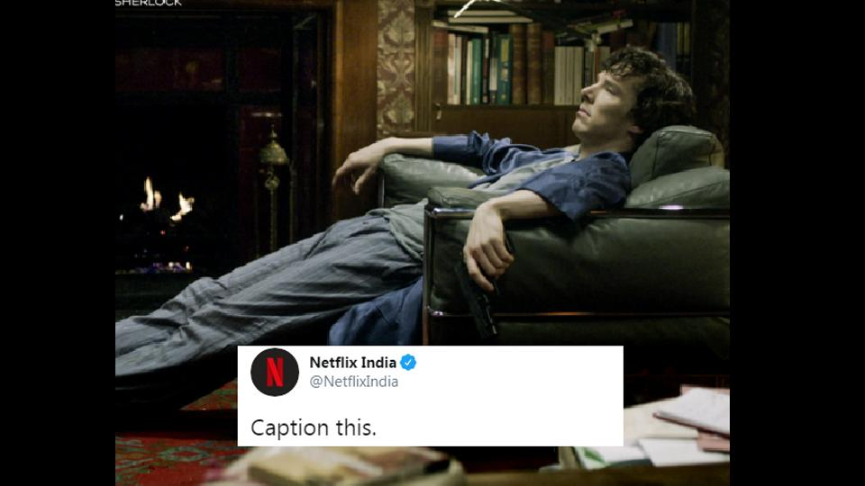 The photo by Netflix India shows an extremely bored Sherlock sprawled over an armchair.