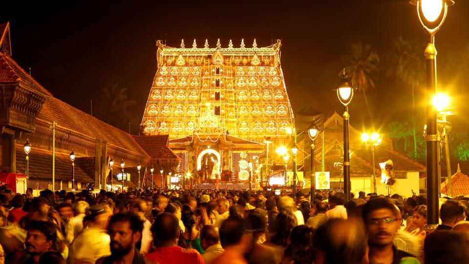Devotees came out in large numbers and distributed sweets before the sixth century temple, situated in the heart of the state capital Thiruvananthapuram. Some devotees were even seen crying before the temple. (Photo: Vivek R Nair/HT)