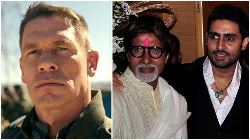 John Cena has shared a photo of Amitabh Bachchan and Abhishek Bachchan without any caption.
