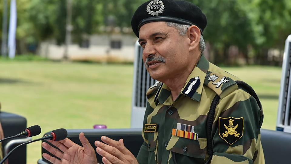 BSF Director General SS Deswal speaks during a tree plantation campaign at the BSF Campus, Bhondsi, in Gurugram on Sunday.
