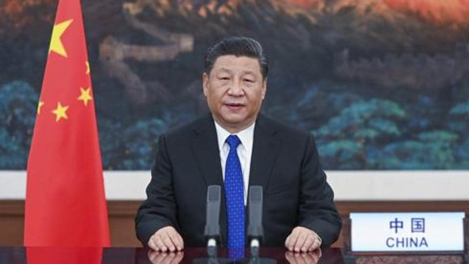 Chinese President Xi Jinping delivers a speech  in Beijing.