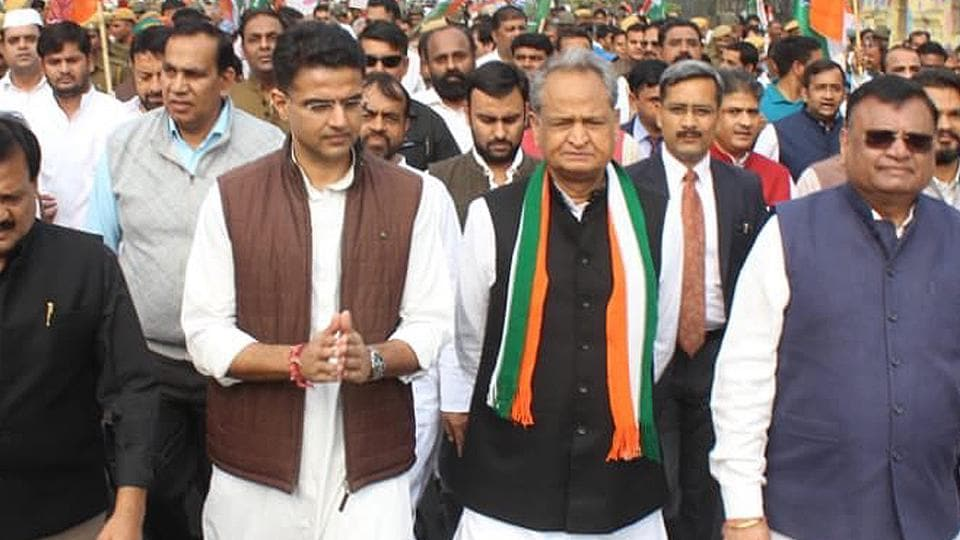 CM ashok Gehlot and Deputy CM Sachin pilot lead State Congress Committee's protest march against wrong economic policies of the Central government and removal of SPG cover of the Gandhi family, in Jaipur on Friday. photo-ht