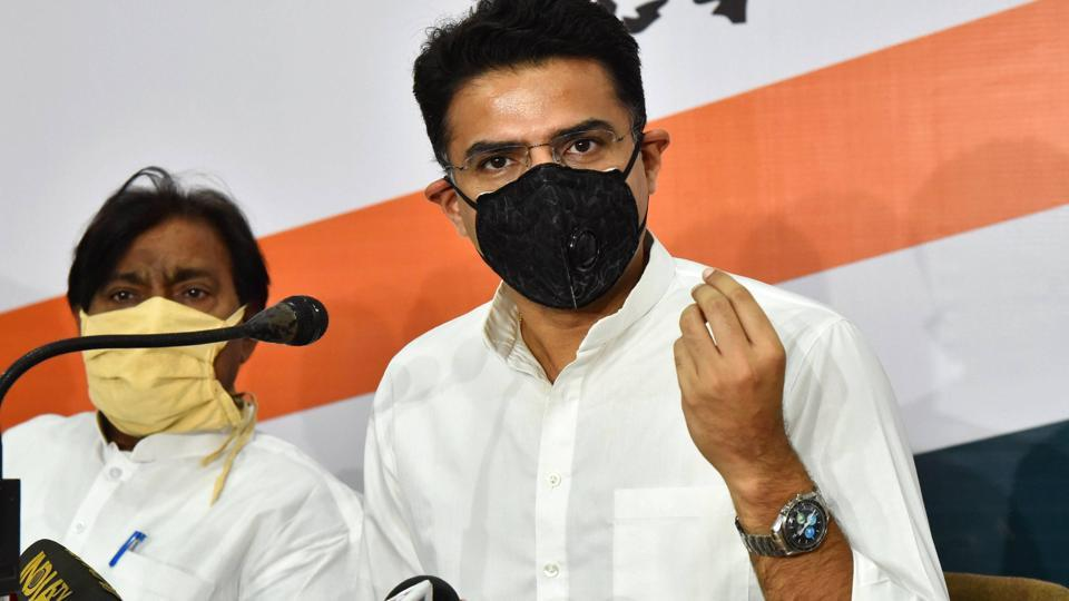 Deputy chief minister and Rajasthan Congress president Sachin Pilot addressing media during the Covid-19 nationwide lockdown, in Jaipur on May 22, 2020.