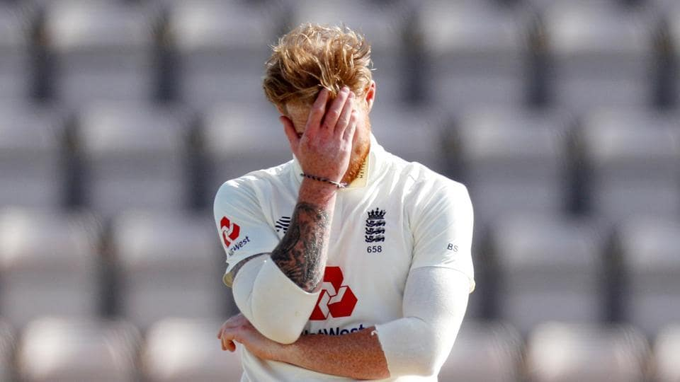 Cricket - First Test - England v West Indies - Rose Bowl Cricket Stadium, Southampton, Britain - July 12, 2020 England's Ben Stokes reacts, as play resumes behind closed doors following the outbreak of the coronavirus disease (COVID-19) Adrian Dennis/Pool via REUTERS TPX IMAGES OF THE DAY