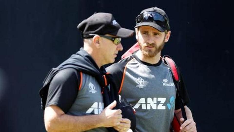 New Zealand's Kane Williamson and head coach Gary Stead during nets.