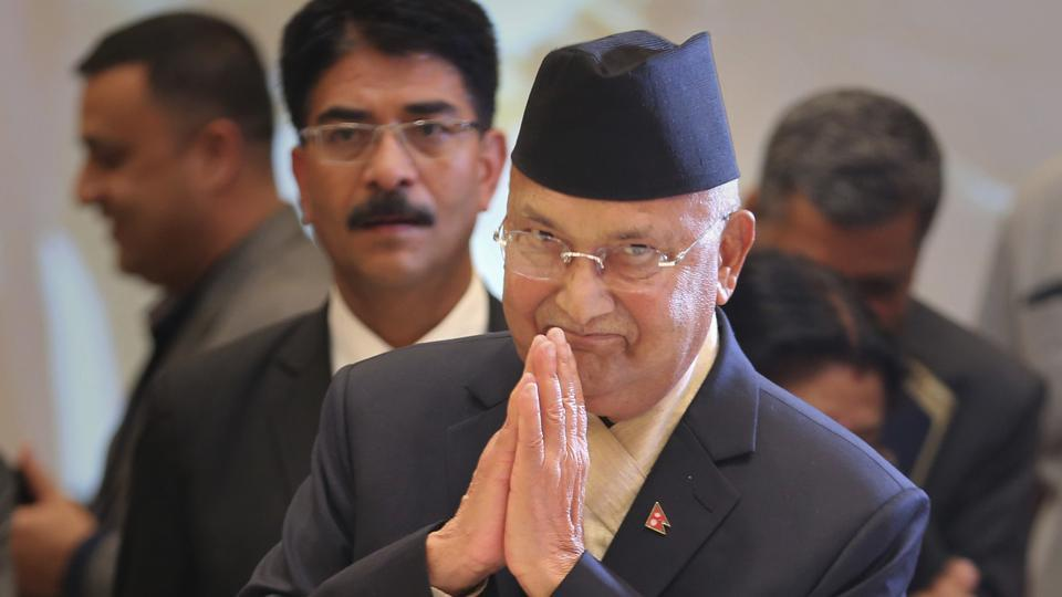 Nepalese Prime Minister Khadga Prasad Oli arrives for the inaugural ceremony of the India-Nepal business forum in New Delhi.