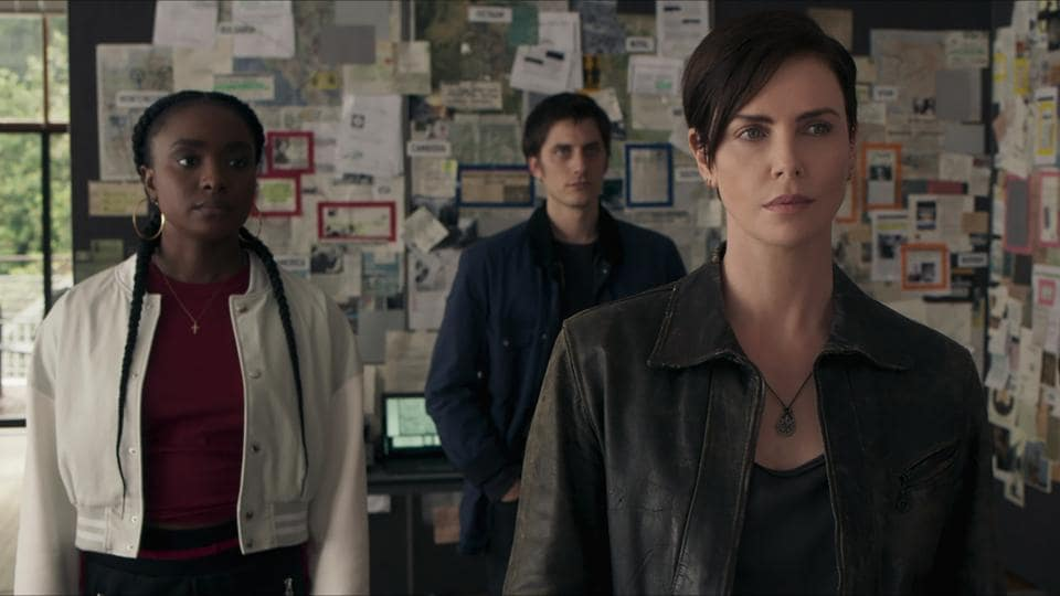 Charlize Theron, KiKi Layne, Luca Marinelli in a still from The Old Guard.