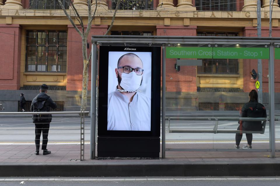 A display thanking General Practitioners (GP's) is displayed at a tram stop in Melbourne, Australia, on Thursday, July 9, 2020.