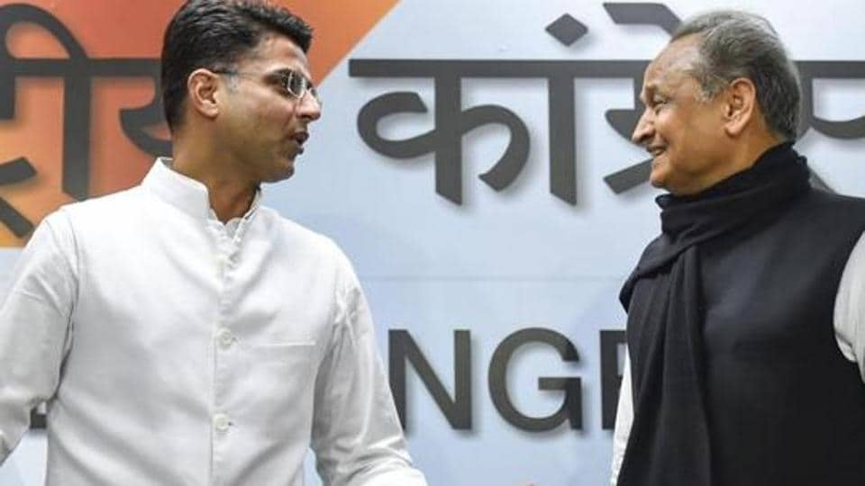 Rajasthan Congress president Sachin Pilot and chief minister Ashok Gehlot before the press conference at AICC headquarters in New Delhi in December 2018.