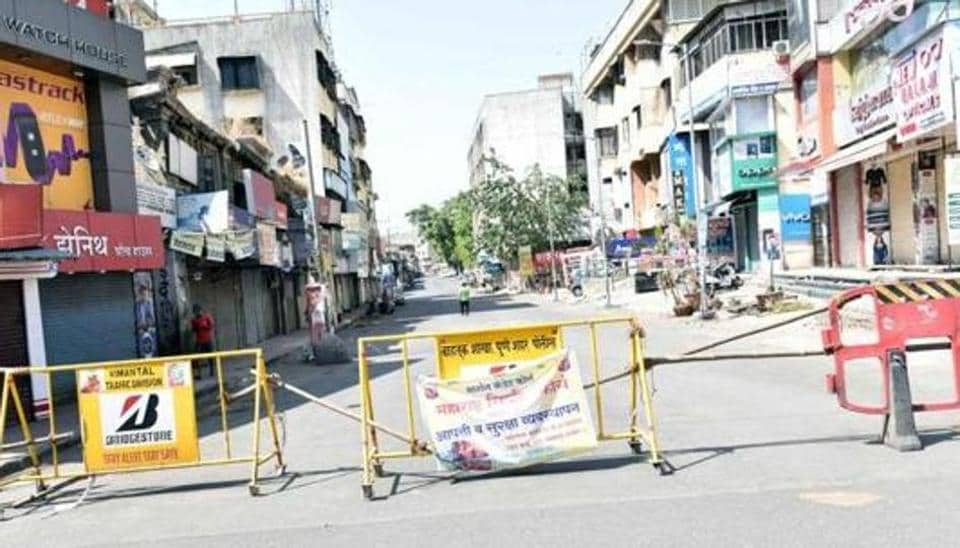A view of the Khadki locality which was sealed as a coronavirus containment zone during lockdown, in Pune.