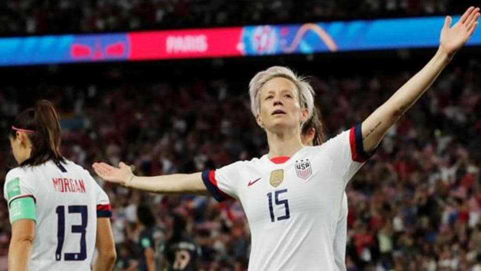 Megan Rapinoe of the U.S. celebrates scoring their second goal.