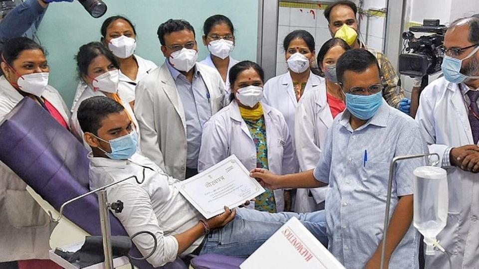 Delhi chief minister Arvind Kejriwal at LNJP Hospital on Tuesday.