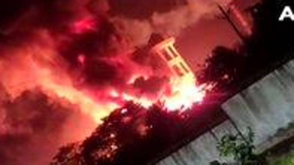 A fire has broken out at a pharma company in JN pharma city, Visakhapatnam.