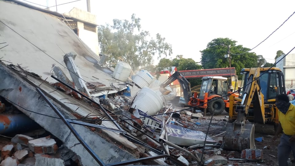 Bhopal Municipal Corporation (BMC), district administration and police jointly razed his marriage hall in Talaiya area of Bhopal city.