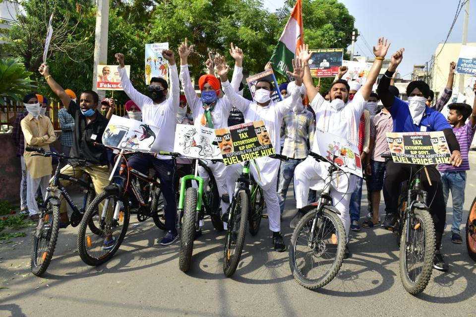 Youth Congress activists taking out a cycle rally in violation of the Punjab government's latest Covid-19 guidelines in Amritsar on Tuesday.